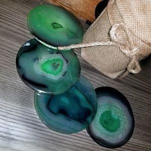 Accessories - Set of 4 Round GREEN Agate Coasters ~ w/bumpers
